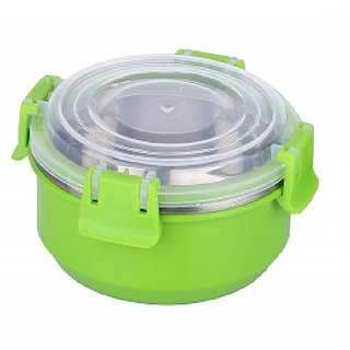Stainless Steel Airtight Food Storage Lock N Lock Leak Proof Containers with Plastic Lid-13 cm (Micro-Green)