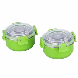 Stainless Steel Airtight Food Storage Lock N Lock Leak Proof Containers with Plastic Lid 12 cm (Micro-Green) Set of 2