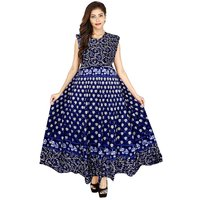 FrionKandy Blue Flared Jaipuri Traditional Printed Gown ( Free Size 36 Upto 44 )