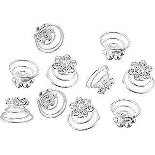 Homeoculture style bun or juda springs Hair Pin(Silver)