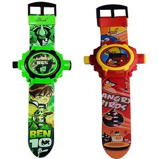 Kids Ben 10 and Angry Bird Projector Watch 24 Images (Multicolour) - Pack of 2