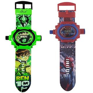 Ben10 and Spider-man 24 Images Projector Kids Watch Combo -Set of 2