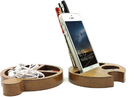 VAH  Small Docking Station Wooden Mobile Phone Stand / Holder For Smartphone (Wooden)