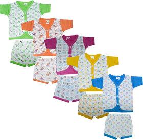 Jisha Cotton Multicolor Boys Tshirt and Shorts ATG4 Set of 5