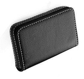 Pocket Size Stitched Leather Visiting Card Holder For Keeping Business Card- Black