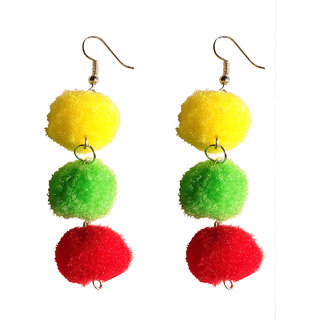 VAH traditional multicolour pom pom  earrings jewellery collection  For Women