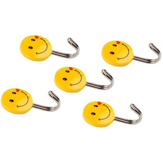 PRODUCTMINE Self Adhesive Smiley Hooks 5 Pieces Load Capacity 0.5kg