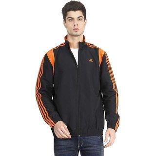 Adidas Men Polyester Jacket - Black  Orange