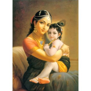 Asmi Collections Little Krishna With Yashoda Canvas Painting - Frameless