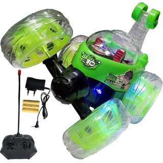 SHRIBOSSJI Cartoon Character Rechargeable Remote Control 360 Movable Stunt Car Multicolor (character and color may vary)