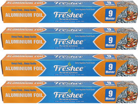 Freshee 9m Aluminium Silver Kitchen Foil Roll Paper Pack of 4 10.5 micron thick Food wrap Bacteria Resistant