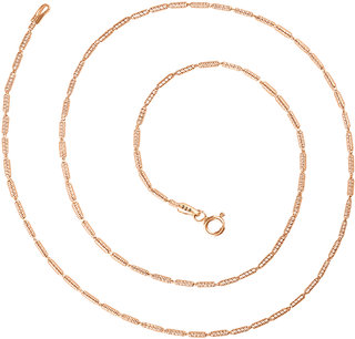 92.5 Sterling Silver Tubular Rose Gold Finish Chain for Women (16 / 18 inches)