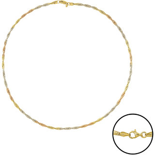 92.5 Sterling Silver Show me the Ropes Tricolor (Rose Gold, Gold and Silver Finish) Stiff Cable Chain for Women (16 inches)