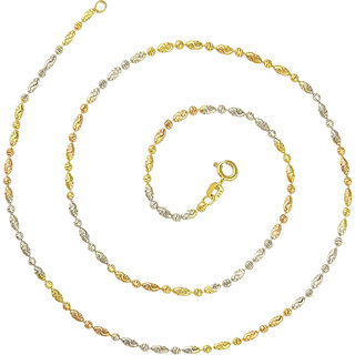 92.5 Sterling Silver Tricolor (Rose Gold, Gold and Silver Finish) Scalloped Barrel and Ball (S) Chain for Women (16/ 18 inches)