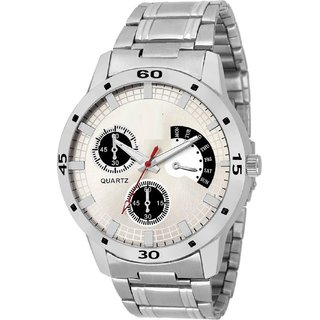 Ismart Round Dial Stainless Steel Strap Analog Quartz White Watch For Men