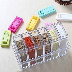 Zahab  Quality 6 set acrylic spice seasoning food and masala rack / box / container / storage / jar set for kitchen