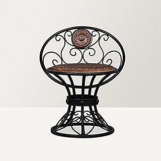 Shilpi Beautiful Design Wooden  Wrought Iron Chair Size (LxBxH-16x13x18.5) Inch