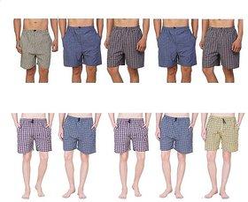 Vixeen Men's Cotton Checked Shorts Multicolor Check's Sports Boxer shorts 10 pcs combo