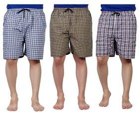 Vixeen Men's Cotton Checked Shorts Multicolor Check's Sports Boxer shorts 3 pcs combo