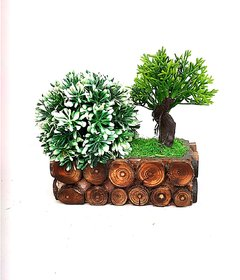 Adaspo Artificial Designer Globe Plant Bonsai Artificial Plant with Pot