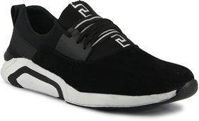 Blue pop Black Faux Suede Air Mix Lace-up Smart Casual Shoes For Men