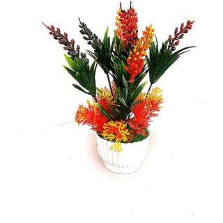Adaspo Artificial Designer Orange Yellow Buds in Beautiful Basket Melamine Pot Bonsai Artificial Plant with Pot