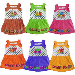 Jisha Fashion Girls Sleeveless Frock (RAMANI) (Pack of 6)