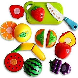 Realistic Sliceable Fruits Vegetables Cutting Kitchen Play Toyset (Set of 16 Pcs)