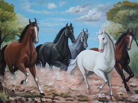 Asmi Collections Vaastu Five Running Horses Canvas Painting - Frameless (3  2.2 Feet)