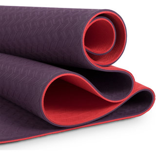 MeFree MeEasy Reversible Yoga Mat Double Layered 8 mm (Purple + Red)