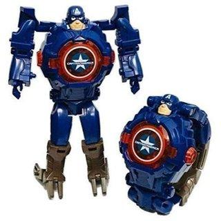 Caviors Digital Wrist Watch for Kids Avengers Robot Deformation Watch (Captain America)