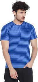 Le Bourgeois Men's Royal Blue Stripe Round Neck Half Sleeve T-Shirt