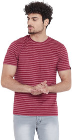 Le Bourgeois Men's Red Stripe Round Neck Half Sleeve T-Shirt