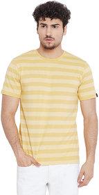 Le Bourgeois Men's Yellow Stripe Round Neck Half Sleeve T-Shirt