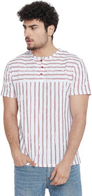 Le Bourgeois Men's Round Neck Maroon Vetical Stripe T-Shirt