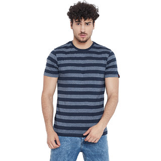 Le Bourgeois Men's Navy Stripe Round Neck Half Sleeve T-Shirt