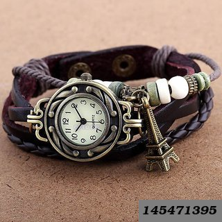 new Black Bracelet Round Eiffel Tower Leather Analog Women Watch (SKU-105)