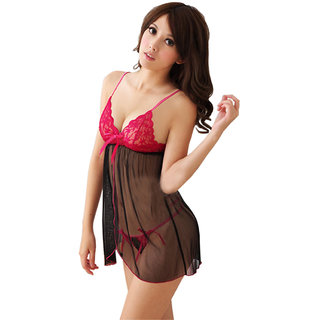 XL009 Sexy Nighty Honeymoon Women/Ladies and Girls Nightwear Net babydoll dress with G-string panty Sleepwear Free Size