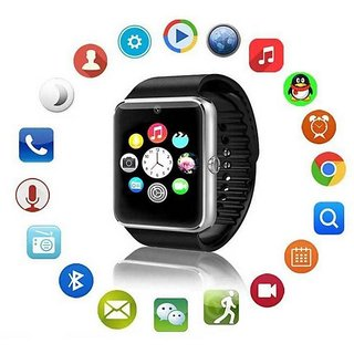 Bluetooth Smartwatch Black with apps (facebook,whatsapp,twitter etc.) compatible with Gionee Marathon M3 by Creative