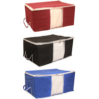 Tagve Pack of 3 Extra Large Storage Organiser, Saree Cover Set, Non Woven Fabric Organiser (Black, Blue, Maroon)