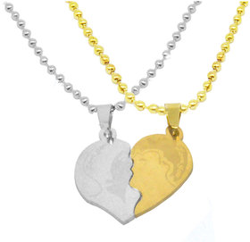 Men Style Romantic Lovers Splice Kiss Love You Heart Silver Gold Stainless Steel Necklace Pendant