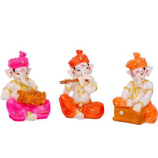 Polyresin Multicolour Dhoti and Turban Ganesha Playing Musical Instrument (Dholak,Flute,Harmonium) for Home Decoration/Showpiece/Vastu/Gifts