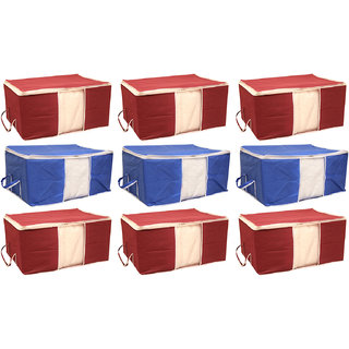 Tagve Pack of 9 Extra Large Size Underbed Storage Bag, Storage Organiser, Blanket Cover , Saree Cover (Blue, Maroon)