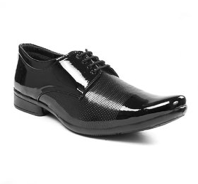 BUCIK Men's Black Synthetic Leather Derby Formal Shoes
