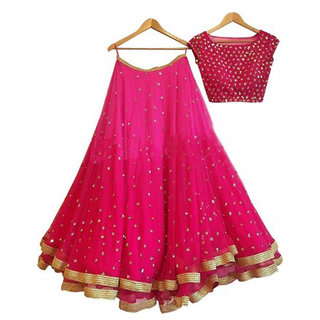 W Ethnic  Pink Georgette Circular Semi Stitched Lehenga