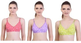 At Your Place Non-Padded Printed Multicolor Cotton Lycra Bras For Women (Color May Vary)