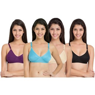 Pack of 4 Multicolor Plain Cotton Lycra Non-Padded Bra (COLOR MAY VARY)