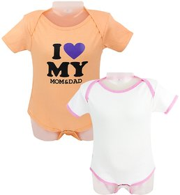 Neska Moda Baby Boys And Baby Girls White and Orange Bodysuits For 9 To 12 Months- Pack of 2
