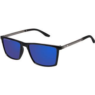 David Blake Blue Polarized UV Protected Mirrored Rectangular Sunglass