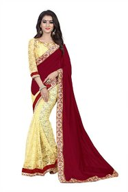 Florence Maroon and Beige velvet and Brasso Embroidered Saree with Blouse